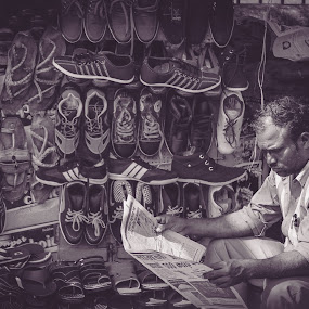 Morning Habits by Neel Gengje - Black & White Street & Candid ( shoes, expression, street, candid, newspaper )