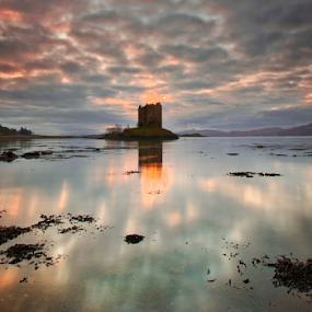 Stalker Castle by Grzegorz Gluchy - Landscapes Travel ( highland, scotland, sunset, castle )
