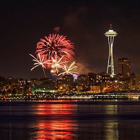 Seattle Fireworks by Nancy Arehart - City,  Street & Park  Night ( space needle, seattle, reflections, 4th of july, fireworks,  )