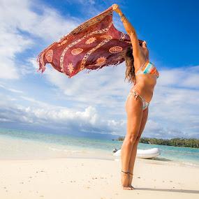 Catching the Breeze by Jason Rose - People Portraits of Women ( sarongs, wind, bikini, fiji, beach )