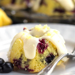 Lemon Blueberry Cakes & Lemony Cream Cheese Frosting.