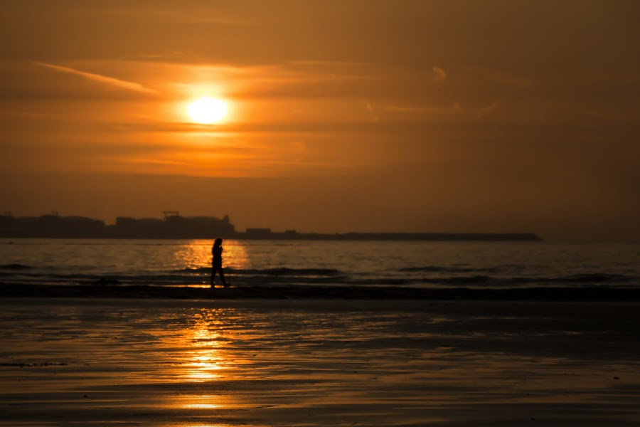 Caught in the sunset by Sander Vanhee - Landscapes Beaches ( sand, walking, person, sunset, harbour, lady, sea, beach, bokeh, sun, landscape )