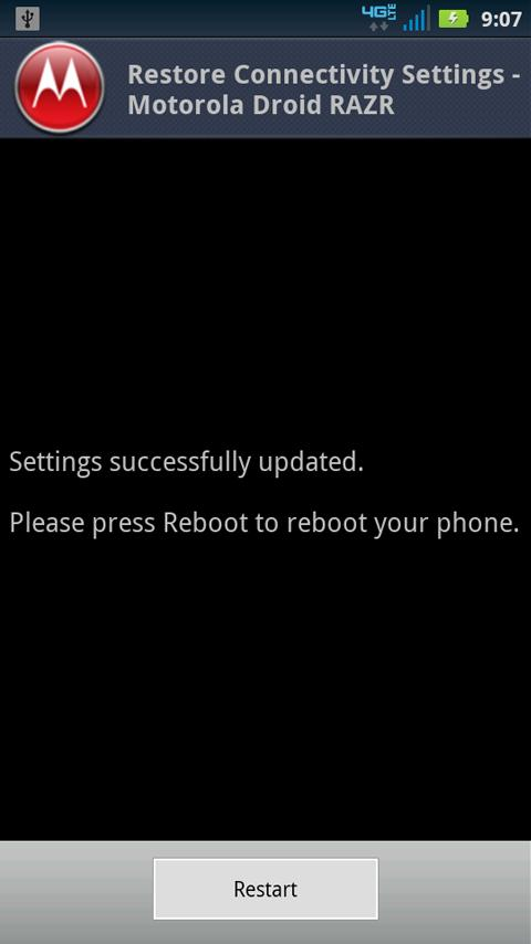 Restore Connectivity Settings - screenshot