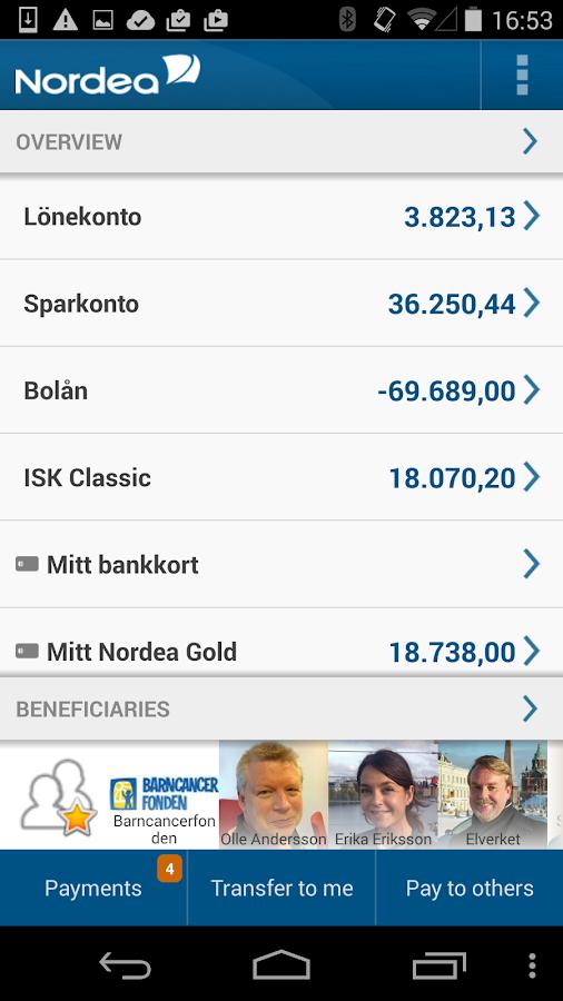 Nordea Mobile Bank – Sweden - screenshot