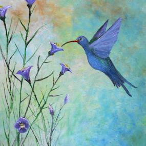 Hummingbird Magic by Rhonda Lee - Painting All Painting ( bird, unique, hummingbird, beautiful, pretty, painting )