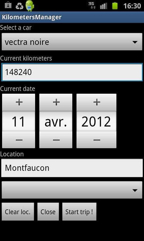 Kilometer Manager - screenshot