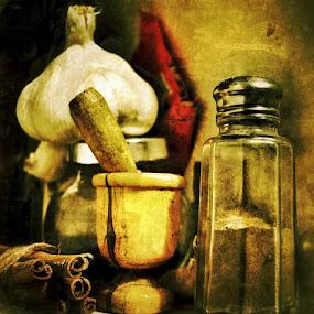 Still life. by Christos Demopoulos - Artistic Objects Still Life ( cinnamon sticks, garlic, mortar and pestle, pepper pot, jar. )