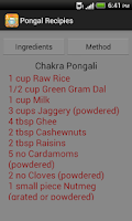 Screenshot of Pongal Recipes