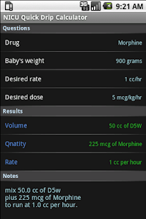 NICU Quick Drip Calculator- screenshot thumbnail