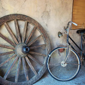 Old objects by Shirley Prothero - Uncategorized All Uncategorized ( wheel, bikes, wagon, classic, antiques )