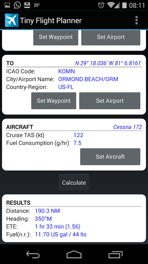Tiny Flight Planner - screenshot