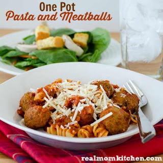 One Pot Pasta and Meatballs.