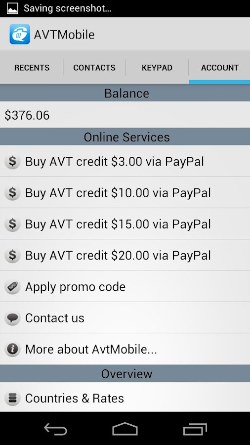 AVT Mobile International Calls - screenshot