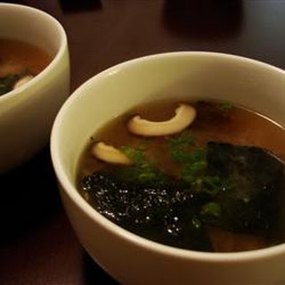 Japanese Soup with Tofu and Mushrooms.