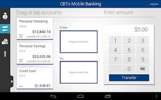 Screenshot of CBTx Mobile Banking