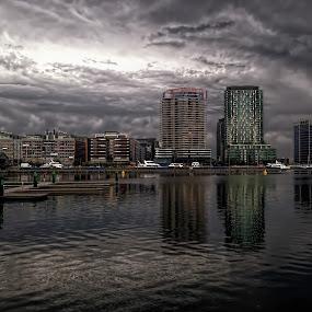 Melbourne Docklands at night, Australia  by Chris KIELY - Instagram & Mobile iPhone ( melbourne, australia, at, on, night, iphone, docklands, , city, Urban, City, Lifestyle )