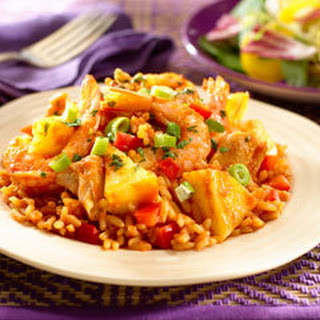 Chicken & Shrimp With Pineapple Rice.