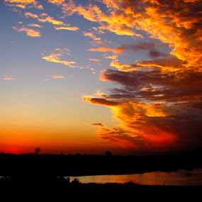 The Sky... by Soura Dutta - Landscapes Sunsets & Sunrises ( colour, sky, sunset, fire, river )