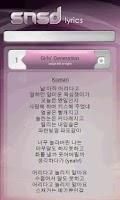 Screenshot of SNSD Lyrics