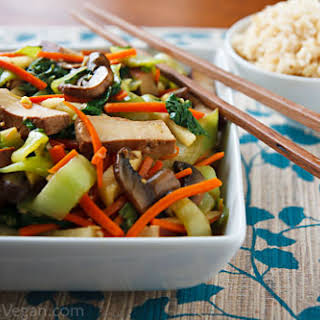 Bok Choy and Baked Tofu Stir-Fry in Ginger-Citrus Sauce.