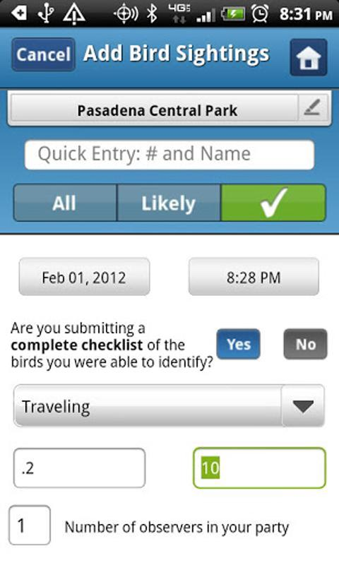 BirdLog Europe - screenshot