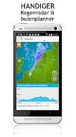 Screenshot of Weerplaza met alert bij regen