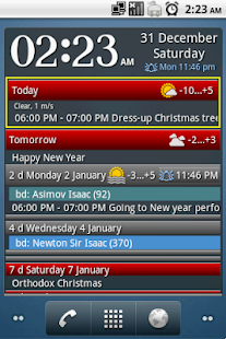 Clock and event widget Free