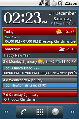 Clock and event widget - screenshot