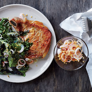 Flattened Pork Chops with Greens and Mustard Pan Sauce