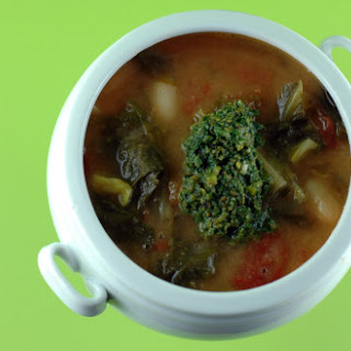 Escarole and Bean Soup with Pistachio Pesto
