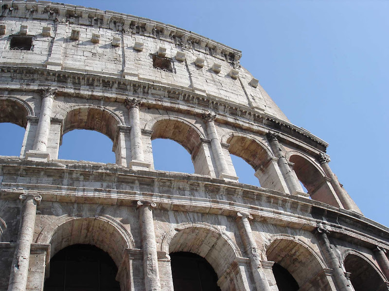 Detail of the Colosseum in Rome, Italy.