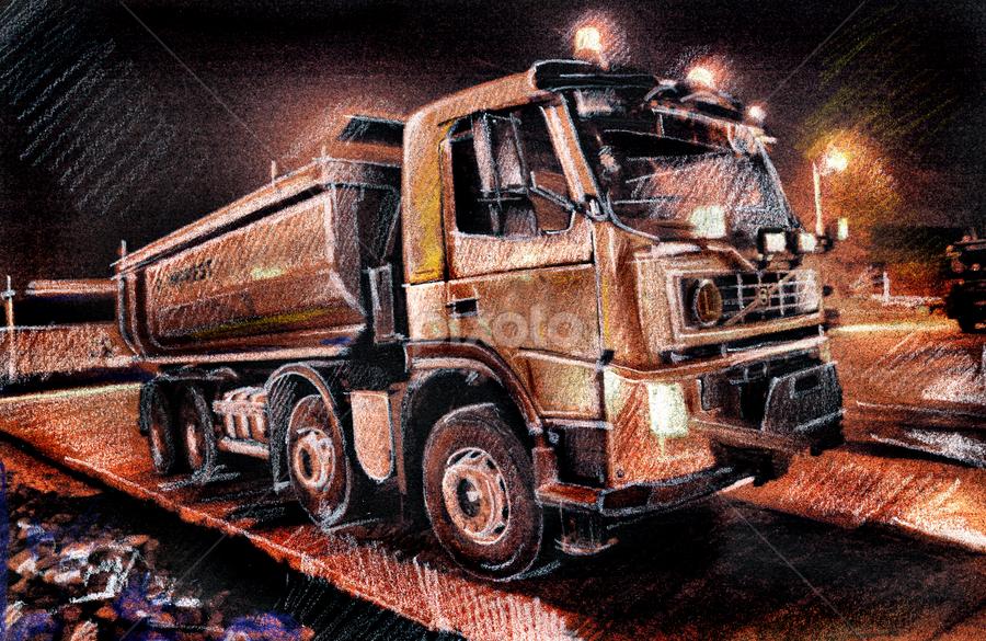The Night Truck by Daliana Pacuraru - Drawing All Drawing ( daliana pacuraru, truck, night truck, traditional art, drawing, pencils,  )