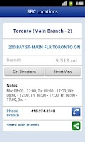 Screenshot of RBC ATM and Branch Locations