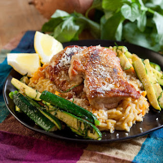 Chicken Thighs with Sweet Potato Orzo Risotto & Zucchini.
