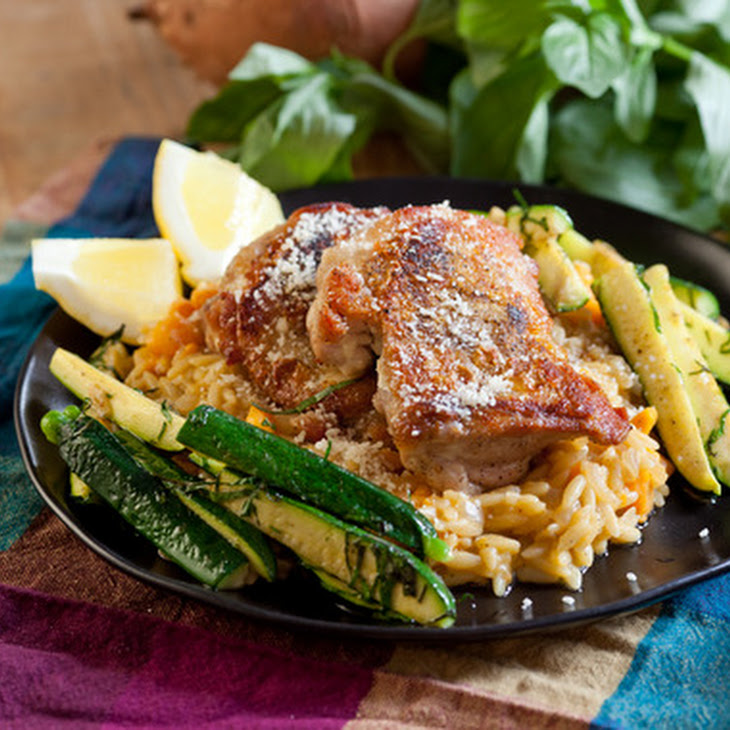 Chicken Thighs with Sweet Potato Orzo Risotto & Zucchini Recipe