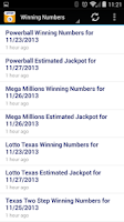 Screenshot of Lottery Results: Texas