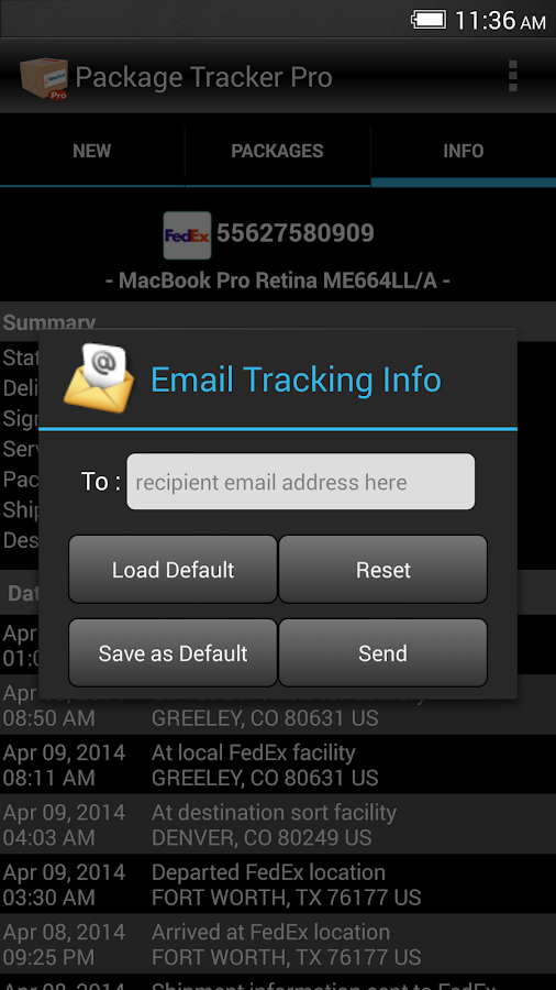 Package Tracker Pro- screenshot