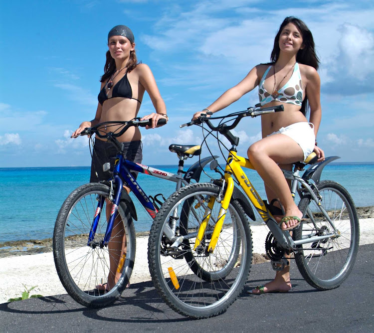 Bikes are a fun and relaxing way to tour the sights on Cozumel, Mexico.