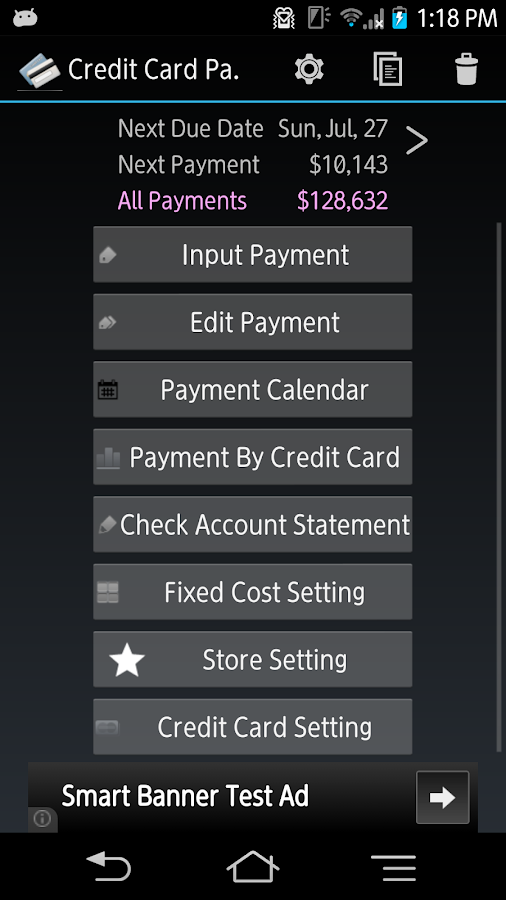 Credit Card Payment Checker- screenshot