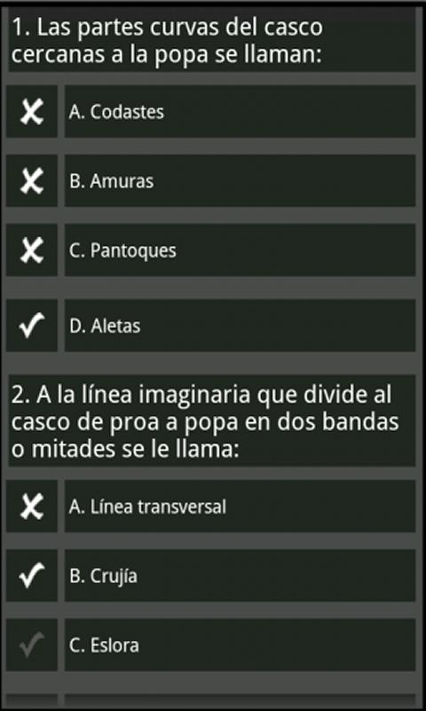 test PER examen oficial - screenshot