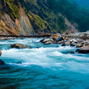 The River Wild by Ankur Chaturvedi - Landscapes Waterscapes ( riverside, blue, flow, travel, rivers, rishikesh )