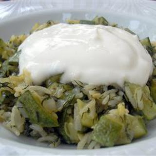 Courgette and Dill with Garlic Yoghurt Sauce.
