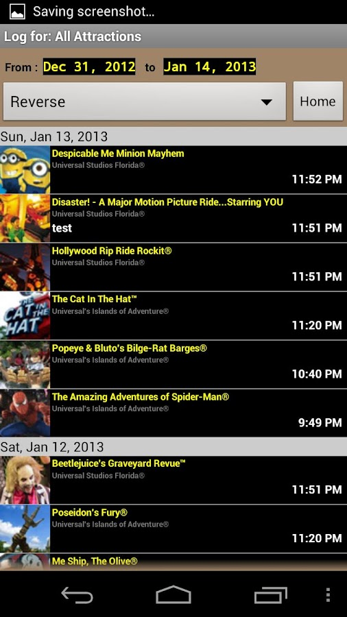Universal Orlando Ride Tracker - screenshot
