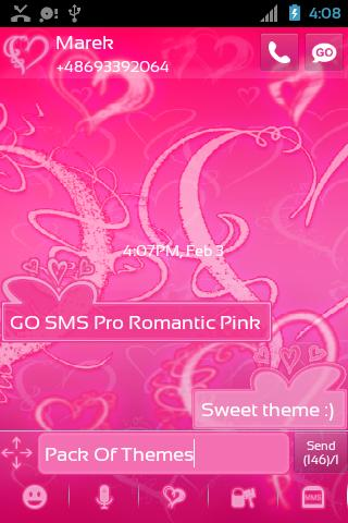 GO SMS Pro Romantic Pink - screenshot