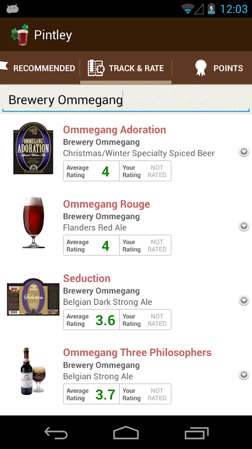 Pintley Beer Recommendations - screenshot