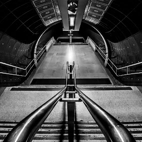London Bridge Station by Lee Davison - Buildings & Architecture Architectural Detail ( tube, black and white, steps, architecture, underground, tunnel )