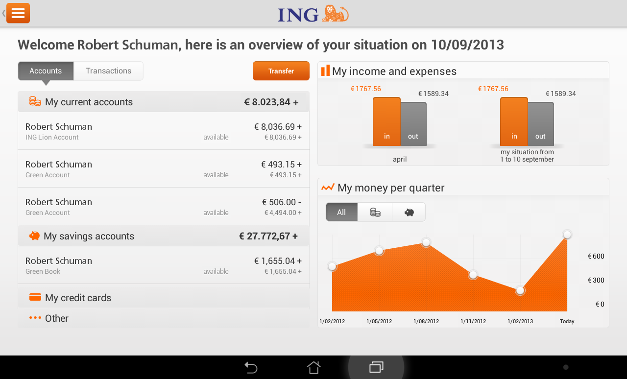 Ing smart banking for tablet android apps on google play ing smart banking for tablet screenshot reheart Image collections