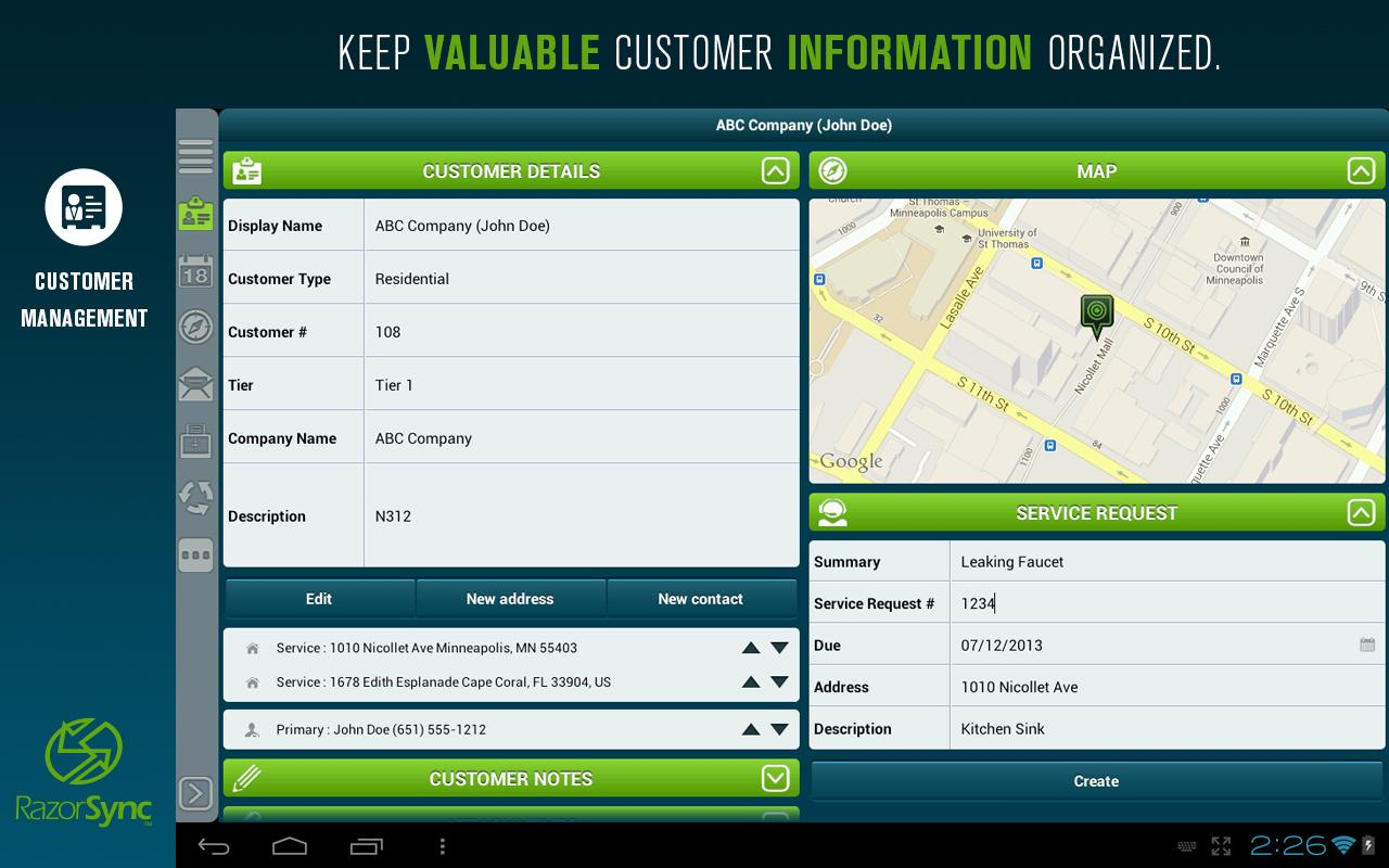 RazorSync Mobile Field Service- screenshot