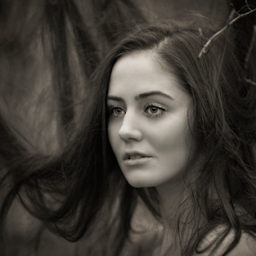 The witch by Tomáš Celar - Black & White Portraits & People ( 5d mark ii, black and white, witch, forest, tomáš celar )