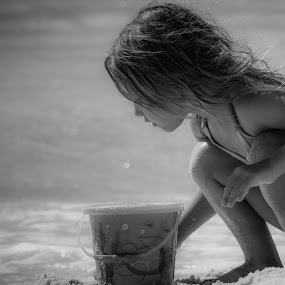 Playing in the Sand by Mary Phelps - Babies & Children Child Portraits ( pensacola, pensacola beach, gulf coast, florida, santa rosa island, gulf of mexico, black and white, b&w, child, portrait, , KidsOfSummer )